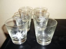 SET OF 6 GILDED TUMBLERS WITH ETCHED WHITE FLOWER & WHEAT DESIGN DULL UV GLOW